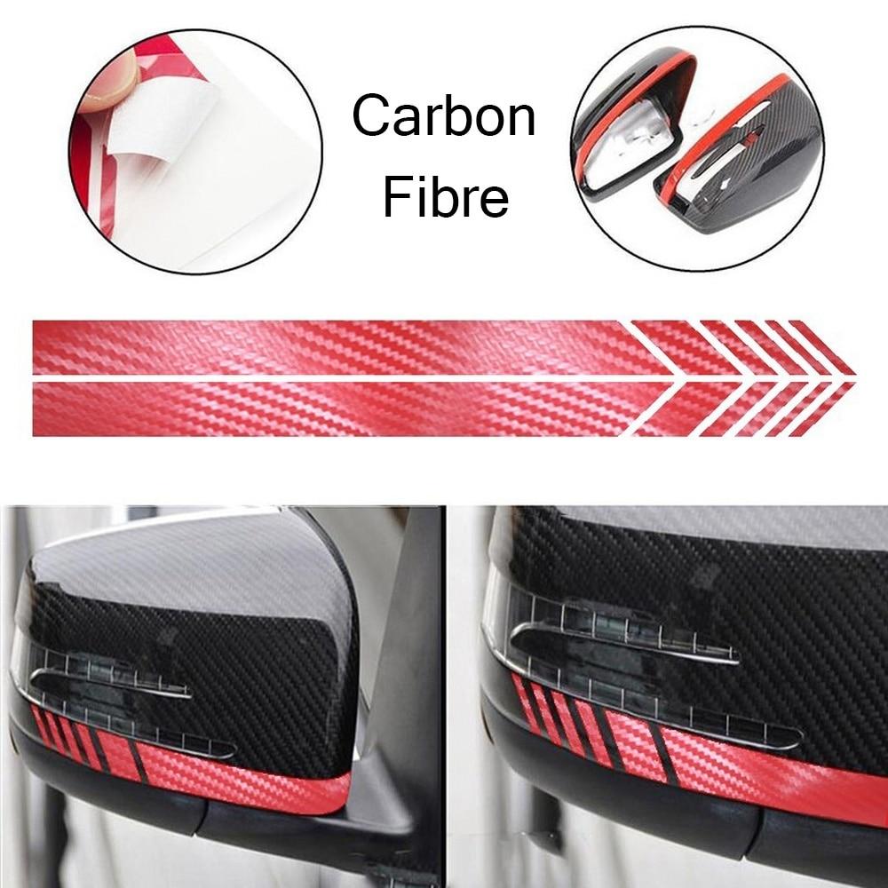 1 Pair Carbon Fibre Car Side Rearview Mirror Stripe Sticker Auto Decor Stickers for AMG