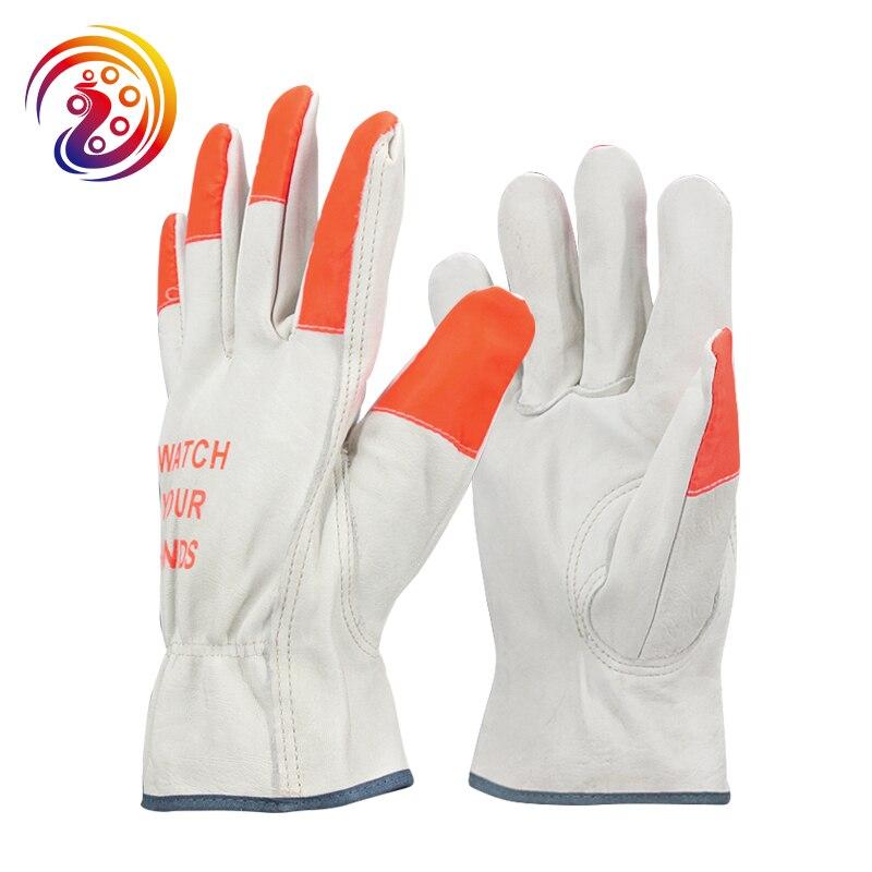 OLSON DEEPAK Cow Leather Factory Driving Gardening Protective Fluorescent Work Gloves HY016 Free Shipping gurpreet kaur deepak grover and sumeet singh chlorhexidine chip