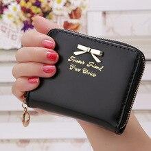 Women Leather Wallet Candy Color Bow Design Short Slim Mini Money Bag Wallet Coin Card Purses Holders Clip Female