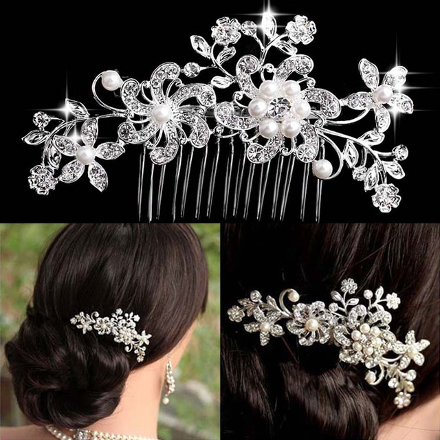 Classic Designs Floral Wedding Hair Accessories Simulated Pearl Crystal Flower Bridal Hair Combs Wedding Tiara Hair Jewelry