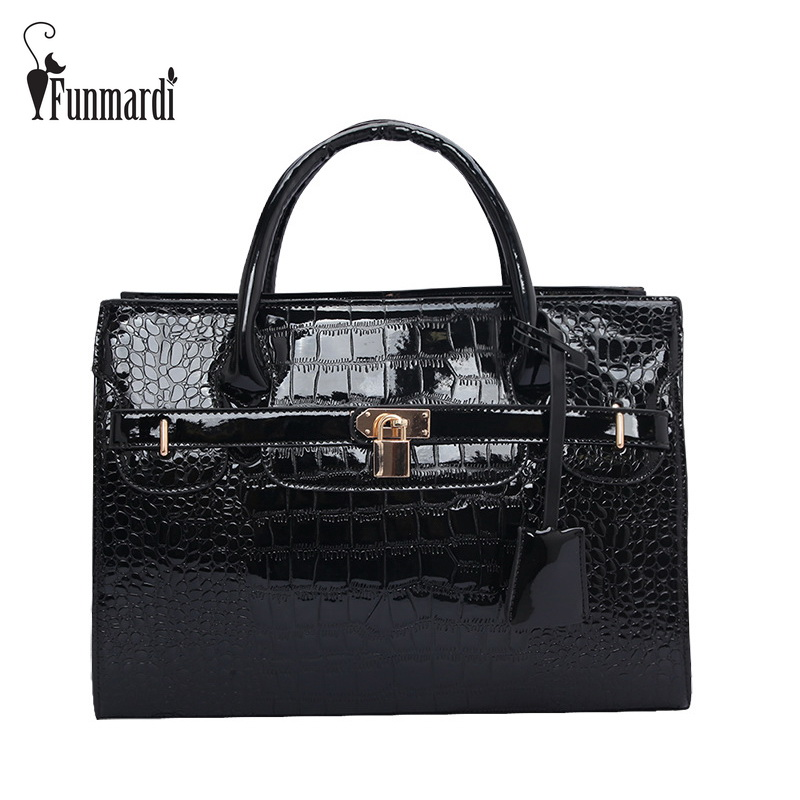FUNMARDI Brand Design CROCO Patent Leather Handbag New Fashion Women Bag Lock Totes Bag Hot Sale Shoulder Bag Big Bag WLHB699 free shipping new arrival 2016 finalize the design women messenger bag fashion patent leather women handbag hot shoulder bags