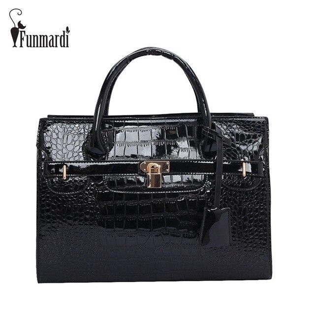 a8cdf3c26181 FUNMARDI Brand Design CROCO Patent Leather Handbag New Fashion Women Bag  Lock Totes Bag Hot Sale Shoulder Bag Big Bag WLHB699