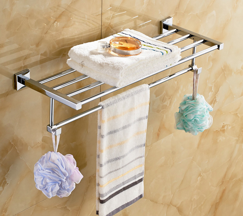 Chrome Finish Bathroom Towel Rack Wall Mounted Towel Clothes Shelf Holder jomoo high quality brass alloy towel bar set rack tower holder hanger bathroom wall mounted hotel shelf chrome finish design
