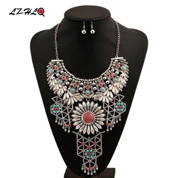 e47db7128015 Lzhlq Bohemia flor grande gargantilla declaración collar mujeres 2 colores  aleación de zinc Collares Colgantes moda collares Collier