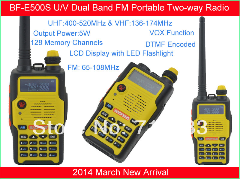 2014 New!Baofeng BF-E500S 136-174MHz &UHF400-520MHz Dual Band 5W/1W 128CH FM 65-108MHz With Free Earphone Portable Two-way Radio