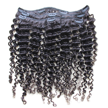 Kinky Curly Clip In Human Hair Extensions 7Pcs/120G Full Head Brazilian Hair Clip Natural Hair Honey Queen Remy Hair Products