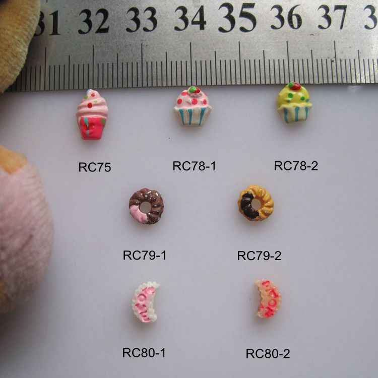 RC75-80 30pcs/bag Cartoon Cupcake Icecream Donuts Moon Resin Cartoon Deco Nail Art Decoration Nail DIY Deco