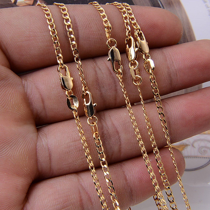 New Hot Sale! Fashion gold Necklace Chain,2mm Jewelry gold color Curb Chain Necklace 16