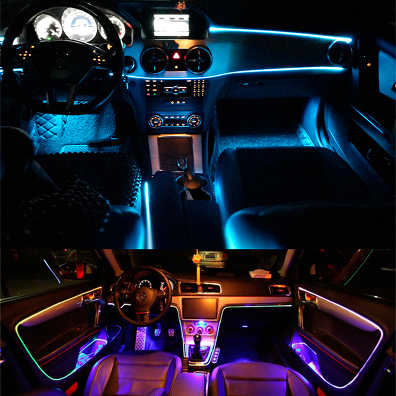 Music Sync Interior LED Lights for Cars With Sound Active Function Multicolor Car LED Lights Interior as Ambient Lights LED Interior Car Lights,App Controlled Car Interior Lights with USB Port