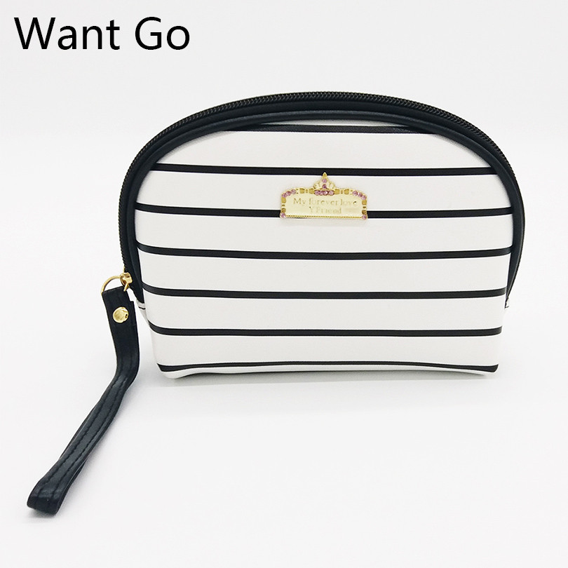 Want Go Fashion Zipper Women Cosmetic Bag Waterproof Striped Lady Makeup Bag Organizer Neceser Pu Leather Toiletry Storage Bags new women fashion pu leather cosmetic bag high quality makeup box ladies toiletry bag lovely handbag pouch suitcase storage bag