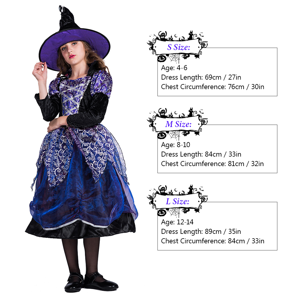Girls Halloween Witch Costume Dress with Hat Kit Masquerade Cosplay Party Props for Girls Halloween Clothes Decorations SML