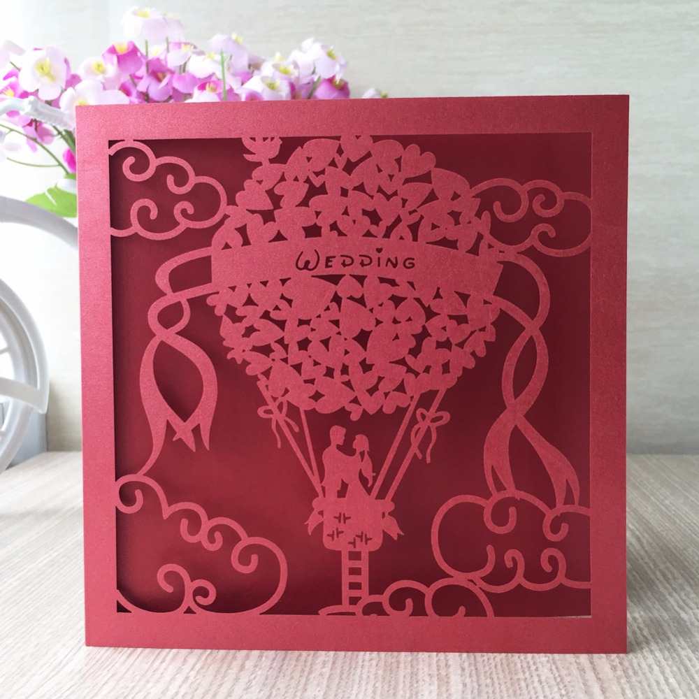 30pcs/Lot Red White Bride and Groom Laser Cut Wedding Invitations ...
