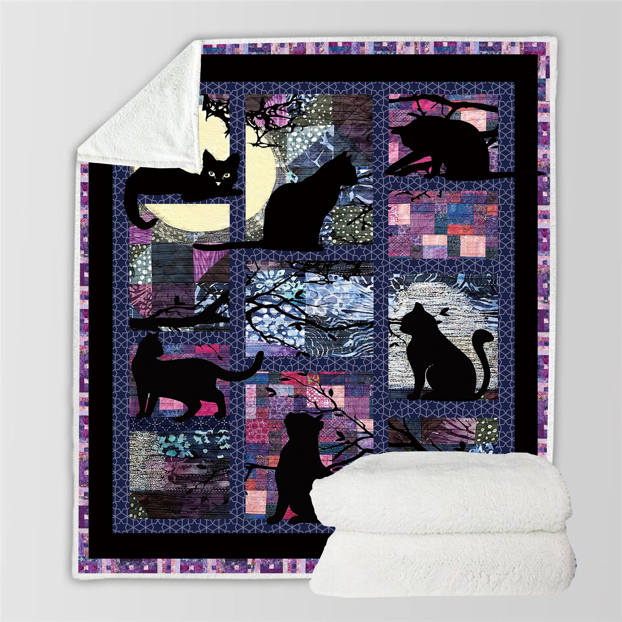 Black Cat Throw Blanket on Sofa 3D Animal Plush Blanket Lovely Pet Fur 150x200cm