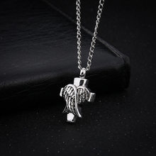 2019 Fashion Antique Silver Alloy Cross and Angel Wings Necklace Holder Locket Keepsake Eternity Jewelry(China)