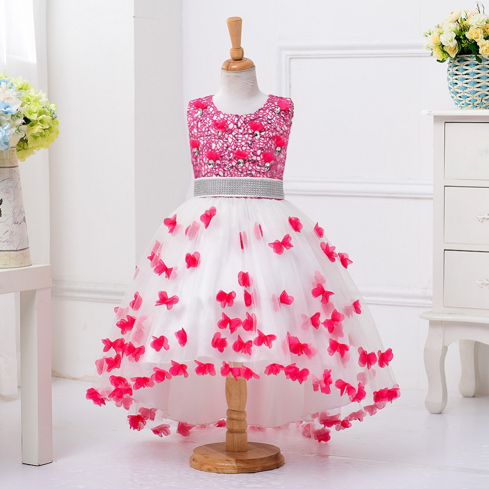 new kids girl party dress standing collar lace flowers trailing princess dress