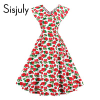 Sisjuly Women Vintage Dress Strawberries Print Summer Dress Red Knee Length Sleeveless A Line Party Lady