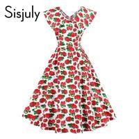 Sisjuly Women Vintage Dress Strawberries Print Summer Dress Red Knee Length Sleeveless A Line Party Lady