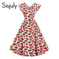 Sisjuly vintage dress women fresas imprimir vestido de verano rojo longitud de la rodilla sin mangas de s line del partido dama de la moda vestido de época