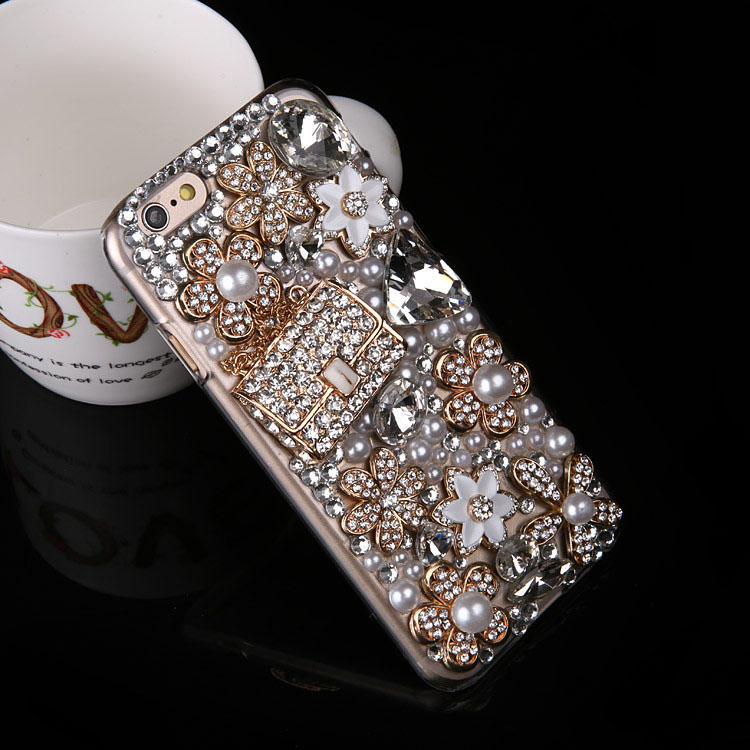 Dower Me Bling Crystal Flower Pearl Diamond Handbag Case For Samsung Galaxy Note 5 4 3 2 S8 S7 S6 Edge Plus S5 S4 S3 Mini A8/7/5