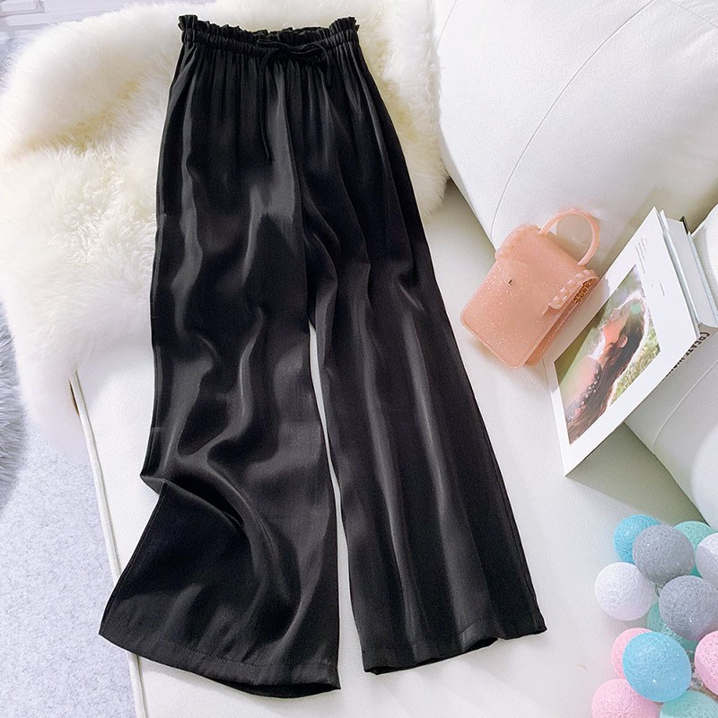 Summer Women's Loose Lace Up   Wide     Leg     Pants   Casual Silk Satin Straight Beach   Pants   Solid Elastic High Waist   Pants   Trousers