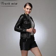 Фотография FREE SHIPPING 2017 Women Black Fashion Genuine Leather Jacket Real Sheepskin Slim Fit  Short Winter Leather Motorcycle Coat XXL