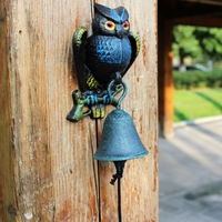 Cast Iron Owl Bell Patio Dinner Garden Door Porch Cabin Lodge Welcome Bell Metal Home Decoration Country Vintage Doorbell Metal
