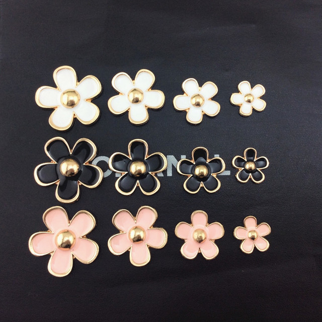 Gold Plated Alloy Daisy Set White Pink Black for Optionfor DIY Cellphone Case Accessories 4PCS/set