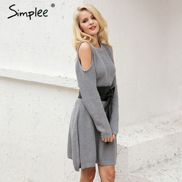Simplee Cold shoulder vintage dress women Sexy casual autumn winter dress Knitting elastic long sleeve dress vestidos de fiesta