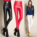 2016 Autumn Winter Fashion Casual Long Pencil Pant Black Red Skinny Trousers High Waist PU Leather Women Pants Plus Size