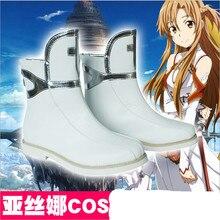 Por Encargo de la Temporada Uno Cosplay Japonés Anime Espada de Arte En Línea SAO Asuna Yuuki Zapatos Botas de Las Mujeres Para la Navidad de Halloween