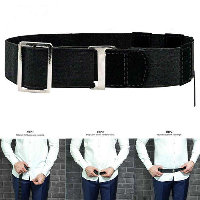Fashion Black Shirt Holder Adjustable Near Shirt Stay Best Tuck It Belt for Women Men Work Interview 120cm