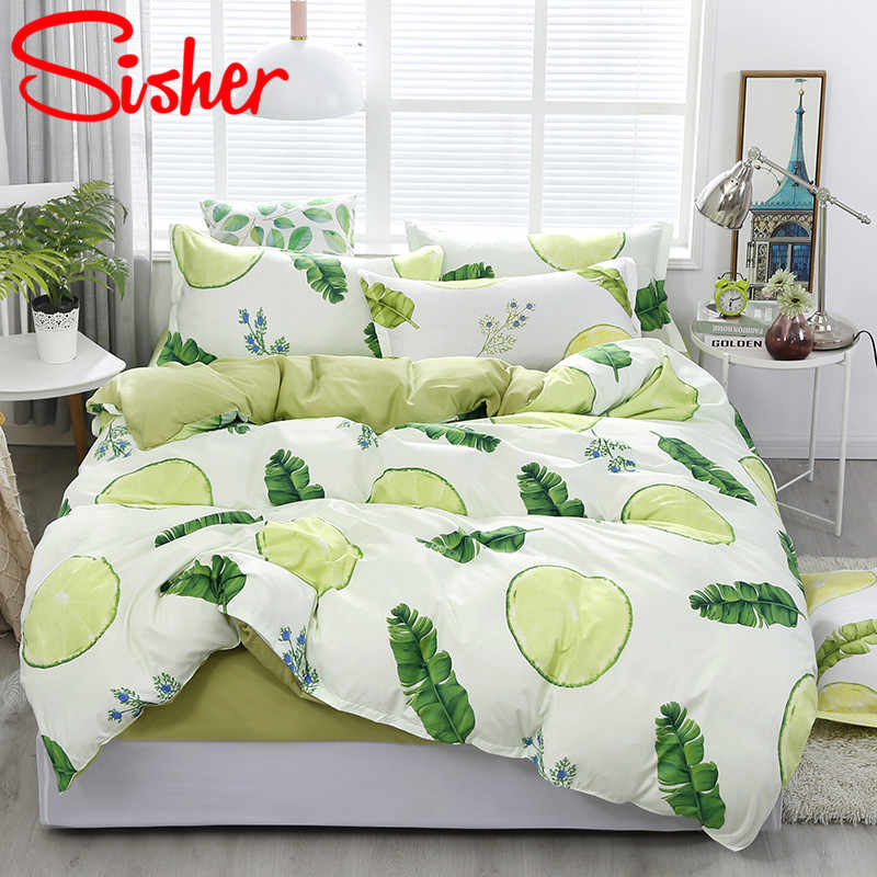 Sisher Pastoral Leaf Bedding Sets Bed Set Nordic Duvet Cover Pillowcase Covers Quilt Double Size Single Queen King No Bed Sheet