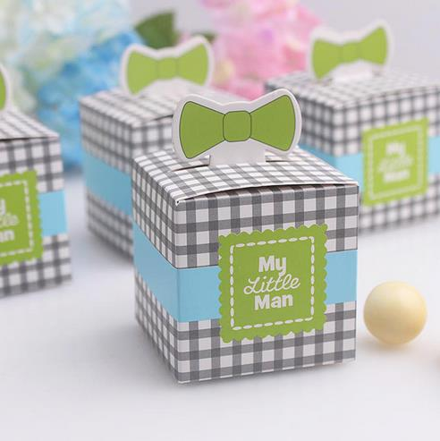 free shipping 20 pcs my little man cute tie birthday boy baby shower favor boxes and