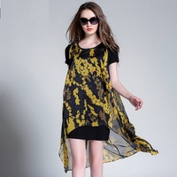 2016Women loose short sleeve twinset floral printed Chiffon Dress Summer Elegant casual asymmetrical vestido Plus Size XXXXL6170