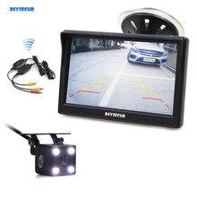 DIYSECUR Беспроводной Водонепроницаемый HD Обратный видеокамера заднего вида светодиодный Ночное видение + 5 дюймовый ЖК-дисплей Дисплей заднего вида монитор для автомобиля