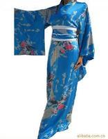 Lake Blue Chinese Traditional Gown Women S Satin Kimono Robe Regular Size