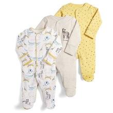 3 יח\סט 100% כותנה תינוק Rompers יילוד ארוך שרוול בגדי סט תינוק סרבל תינוק Sleepsuit תחתוני בגדים