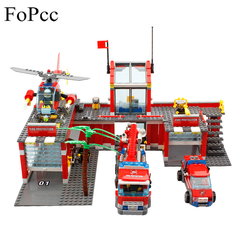 774Pcs City Fire Station Truck Helicopter Firefighter Minis Building Blocks Bricks Toys Brinquedos Toys For Children Legoings kazi new 774pcs city fire station truck helicopter firefighter minis building blocks bricks toys brinquedos toys for children
