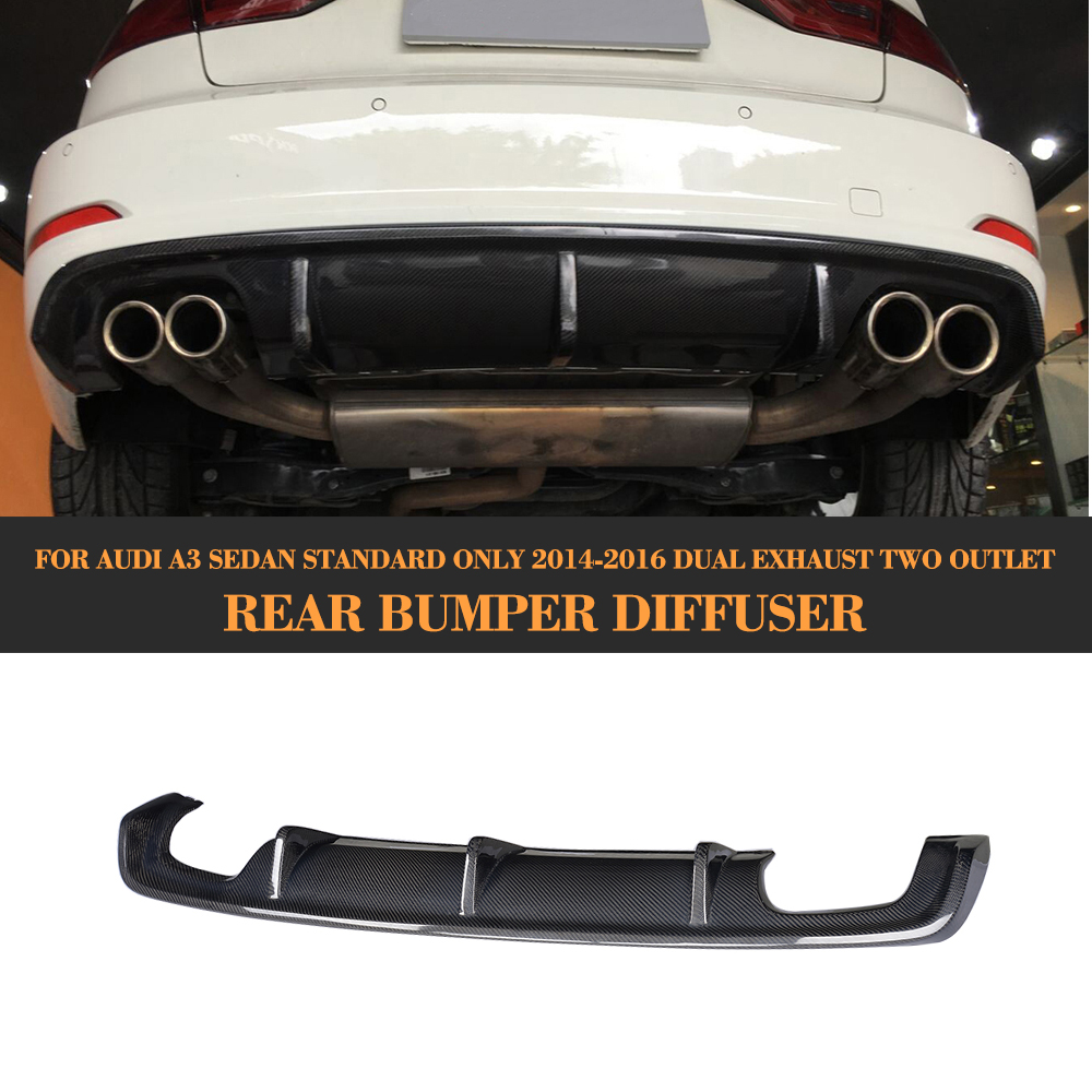 Carbon Fiber <font><b>Rear</b></font> Tail Bumper Lip spoiler <font><b>Diffuser</b></font> For <font><b>Audi</b></font> <font><b>A3</b></font> Standard Sedan 8V 4 Door 14-16 Non Sline Four Outlet Black FRP image