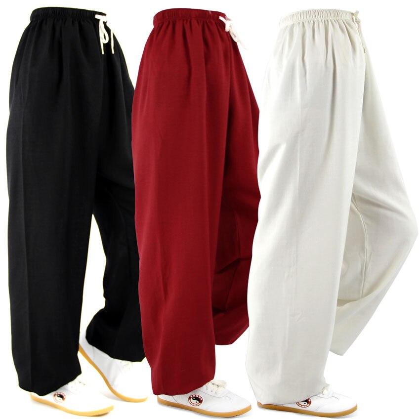 Классический хлопчатобумажные и льняные брюки шаровары йога одежда тай-чи кадриль йоги брюки кунг-фу работает брюки мужчины и женщины