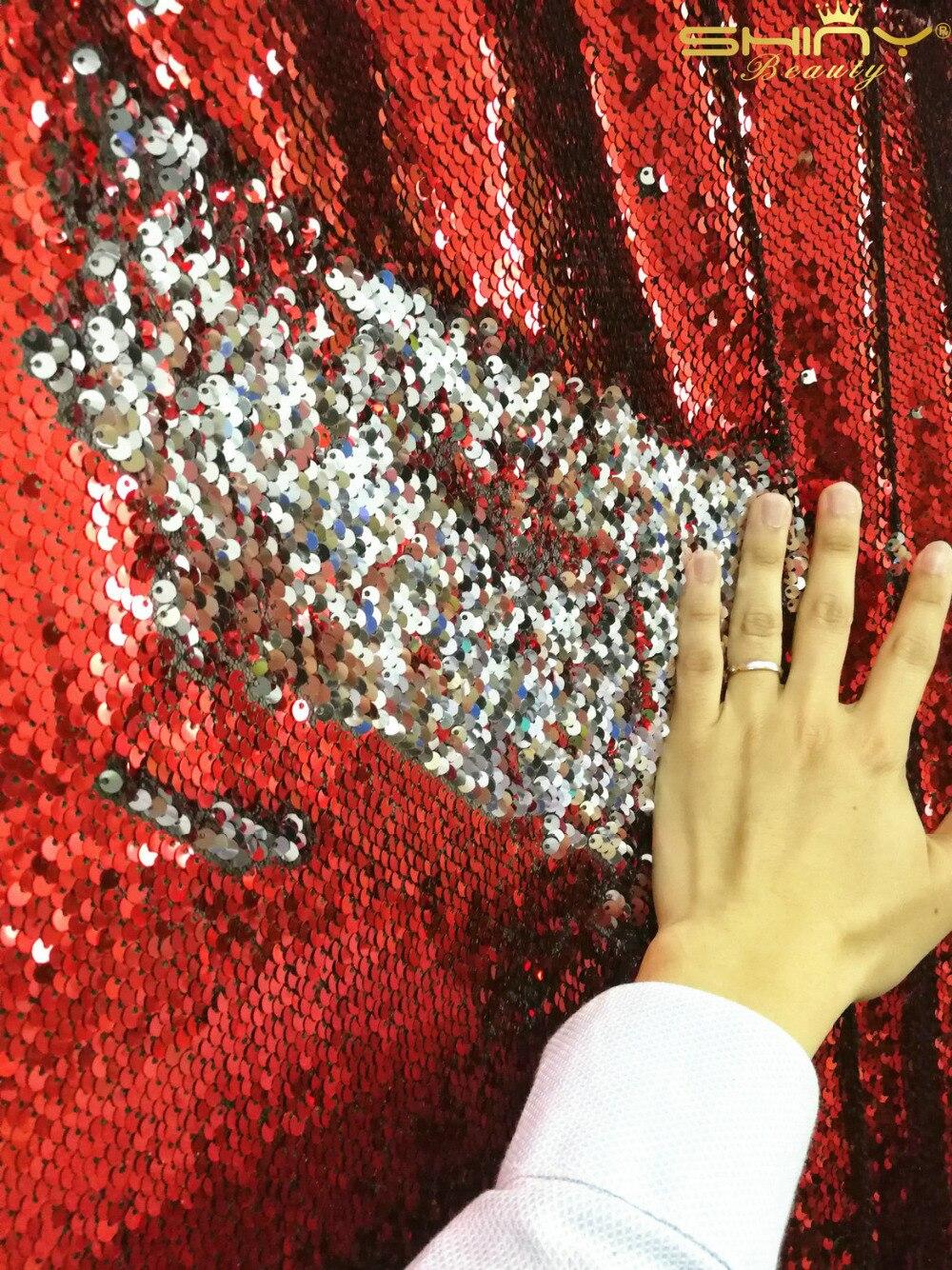 Shinybeauty Réversible Rouge et Argent Toile De Fond De Paillettes Curtain-9ft x 9ft, sirène Poissons Échelle Sequin Photographie pour Décorations-r