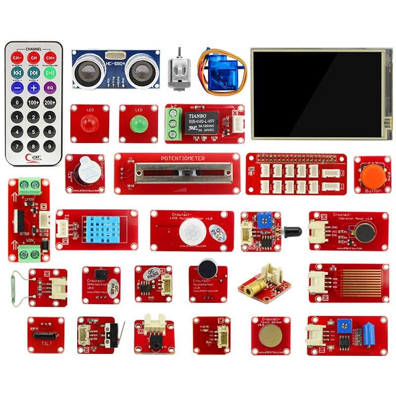 Elecrow Raspberry Pi 3 Kit de démarrage 3.5 pouces affichage capteurs Modules LED 9G Servo framboise Pi IOT projets Kit de bricolage électronique