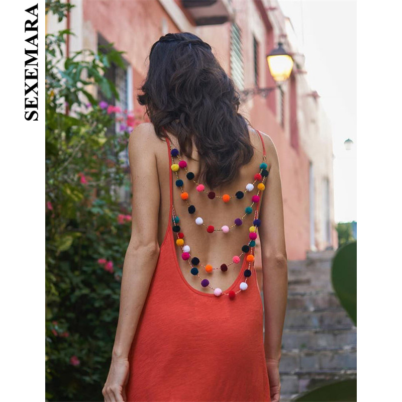 SEXEMARA Cute Hairball Sexy Summer Dress Women Boho Sundress Orange Holiday Casual V Neck Backless Mini Beach Dresses C76-AA74