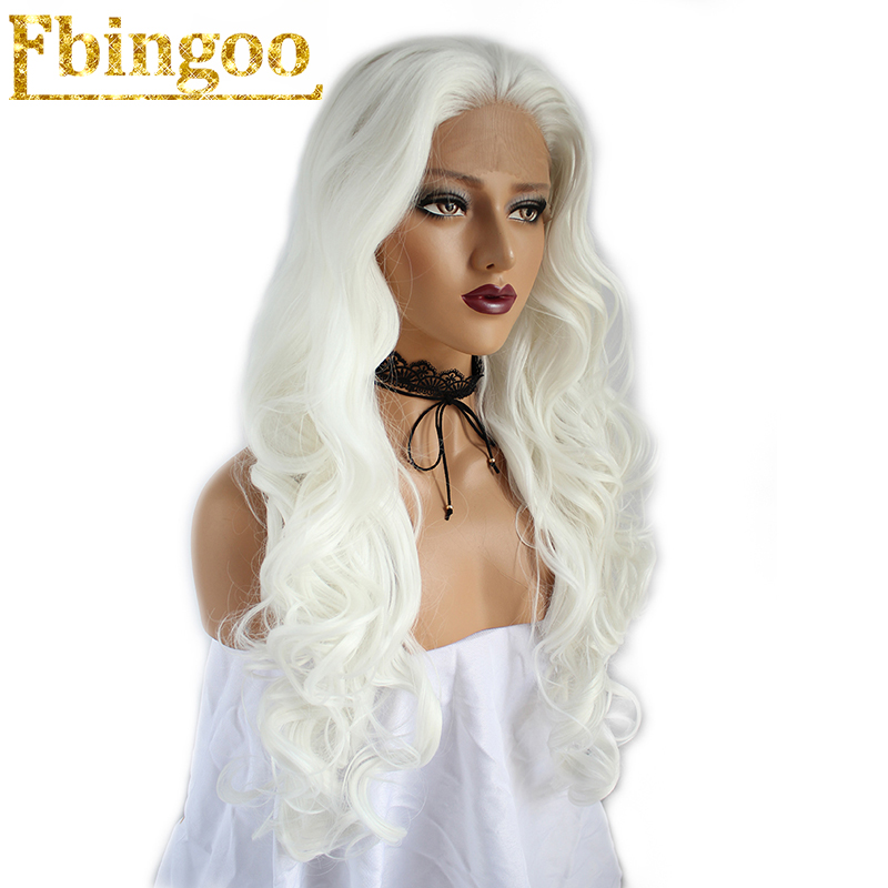 Ebingoo High Temperature Fiber Peruca U Part Long Body Wave Full Hair Wigs White Synthetic Lace Front Wig With Widow Peak