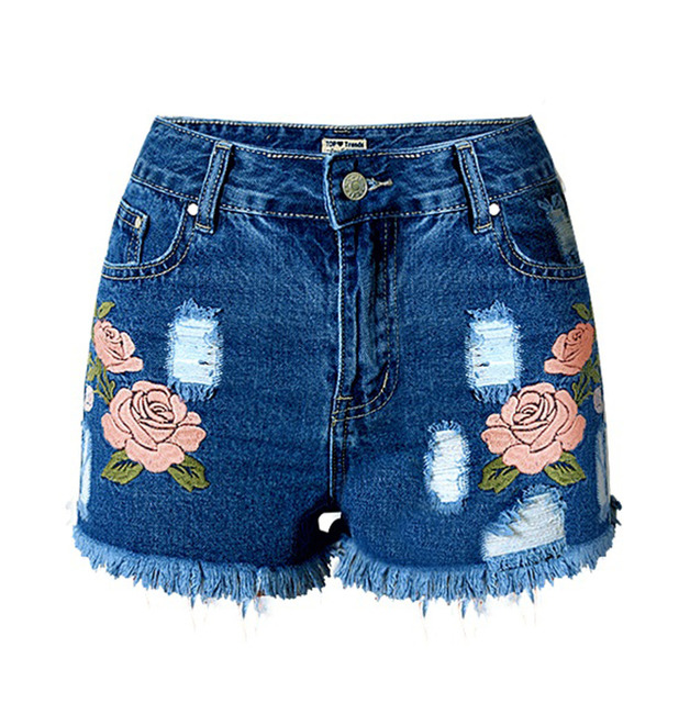 Tengo Flor Estereoscópica Das Mulheres Bordados Shorts Jeans Desgastados