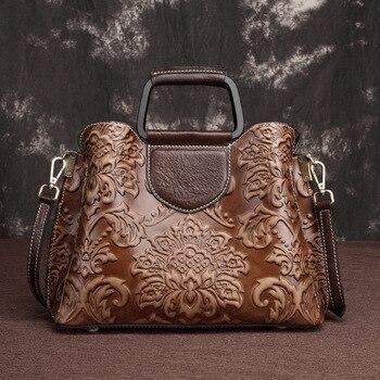 Genuine Leather Women Messenger Shoulder Bag Tote Embossed Vintage Design Cross Body Handbag Brush Color Female Top Handle Bags