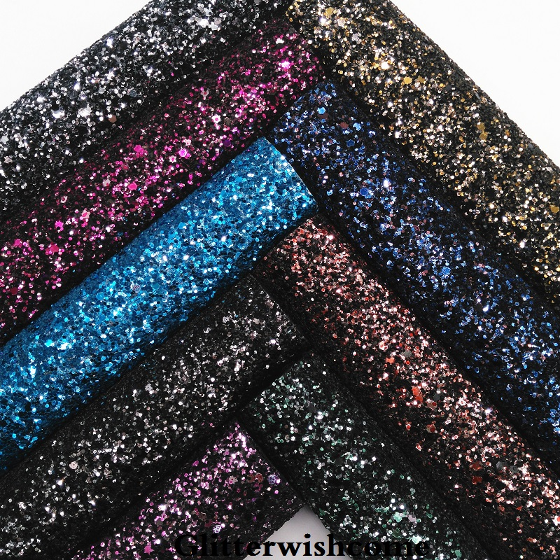 Glitterwishcome Dark Chunky Glitter Leather, Faux PU Leather Fabric Vinyl For Bows, Size 30x134cm Mini Roll GM074