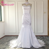 Real Photos Mermaid Wedding Dresses High Neck Cut Out Back Lace Sweep Train Satin White Bridal