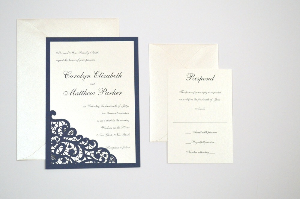 Dark Blue Wedding Invitations: 50pcs Dark Blue Pocket Romantic Envelope Wedding