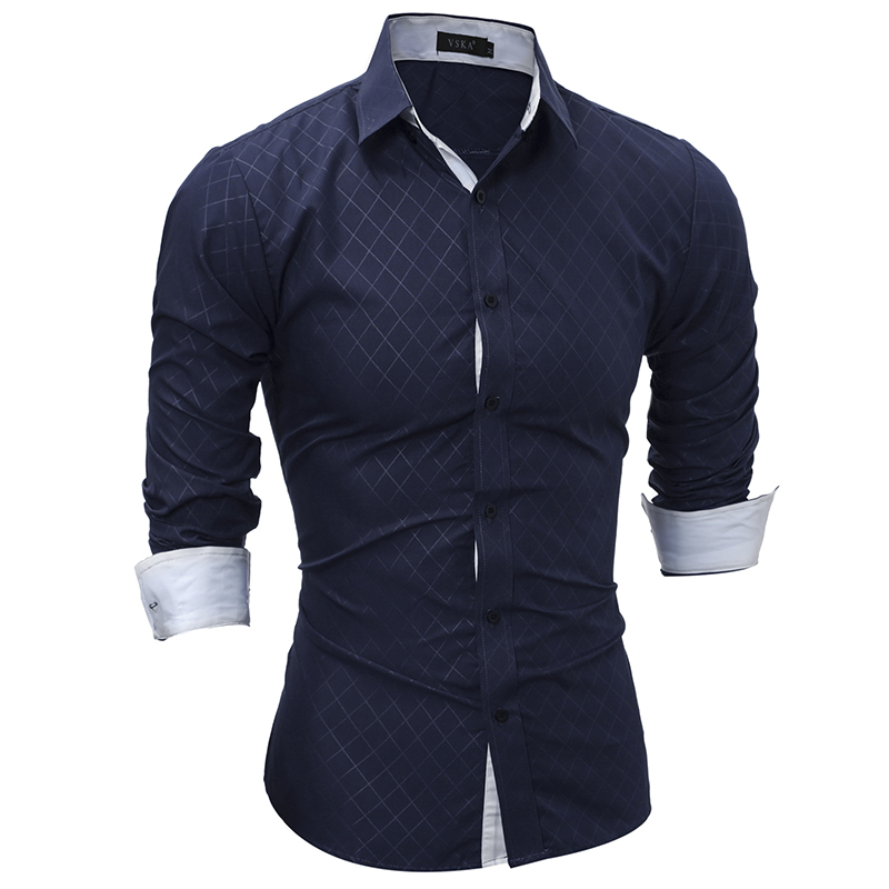 Plaid Shirts Men 17 Hot Sale Dress Long Sleeves Shirts Fashion Slim Fit Camisa Masculina Size XXL Casual Men Shirts YT666 2
